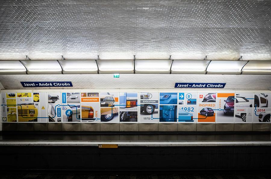 Curius signe l'aménagement de la station de métro Javel - André Citroën pour célébrer la collaboration entre la RATP et Citroën