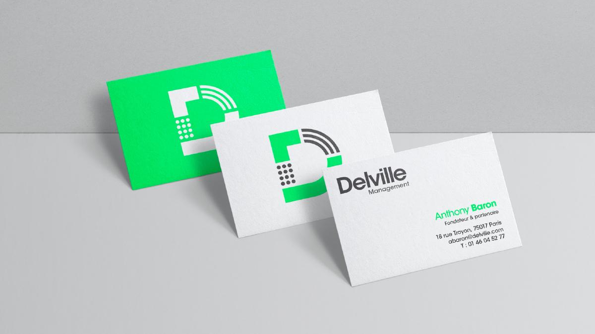 Cartes de visite Delville Management - Designed by Curius
